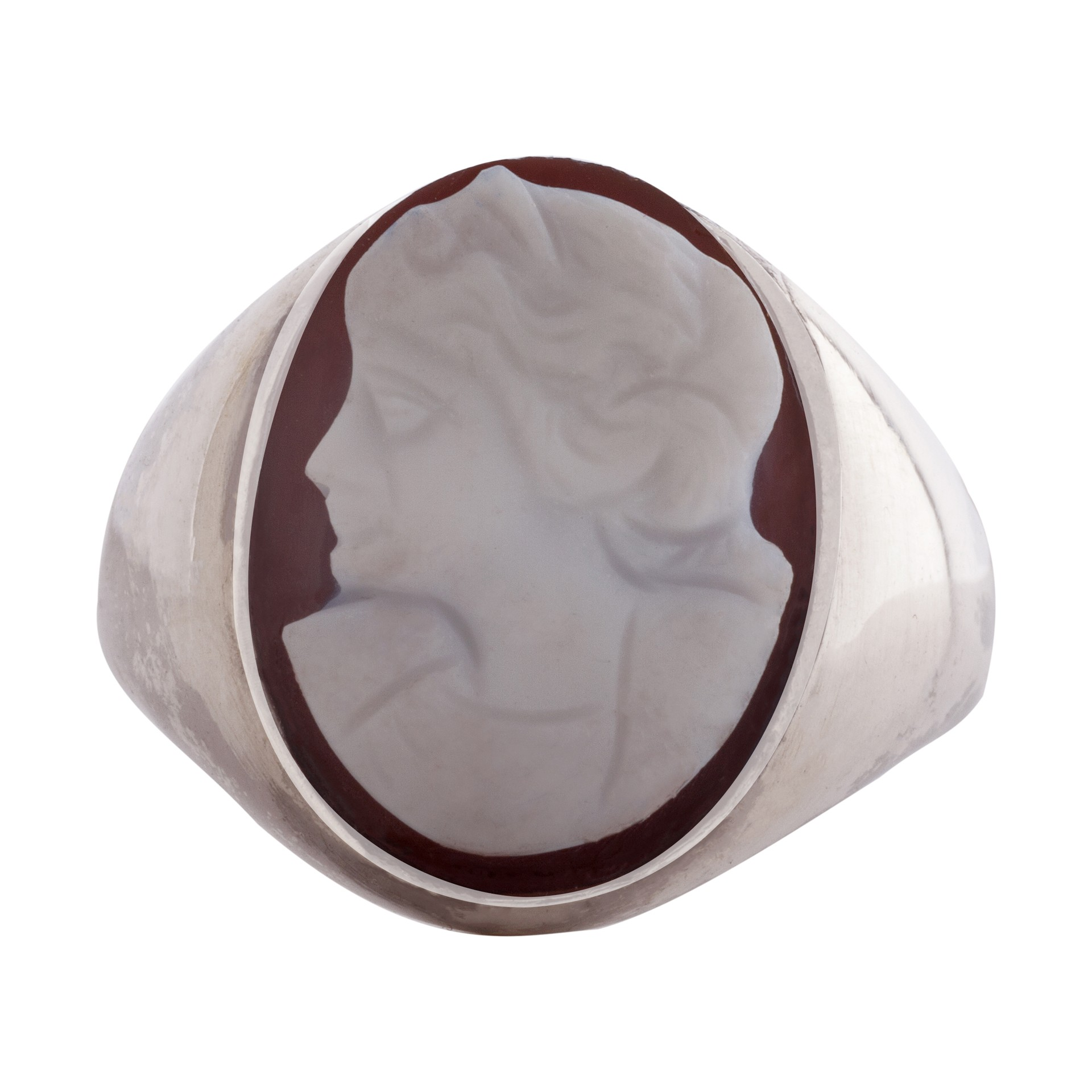 Cameo stone silver signet ring