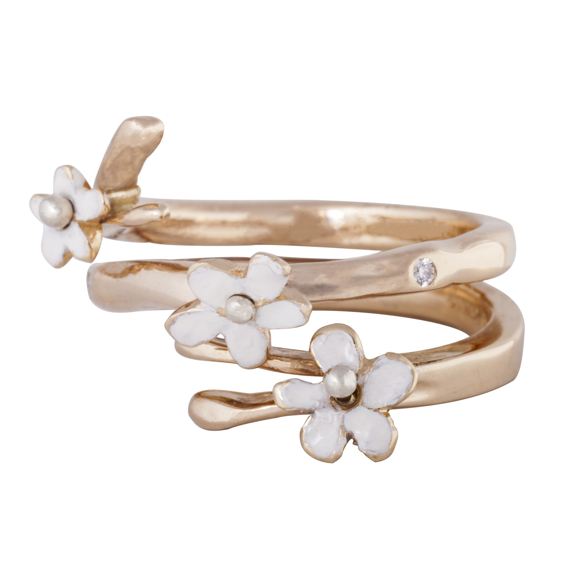 'Forget me not' 14ct gold diamond ring