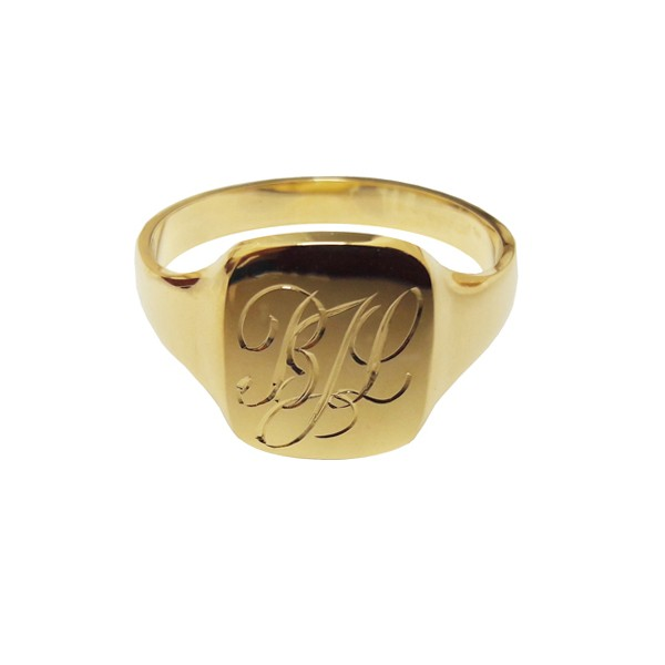 Hand engraved solid gold signet ring