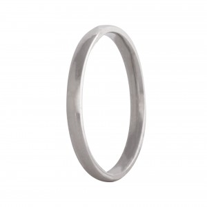 Court wedding band 2mm 9ct white gold