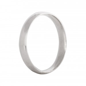 Court wedding band 3mm 9ct white gold