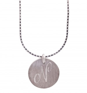 Personalised initials silver disc pendant