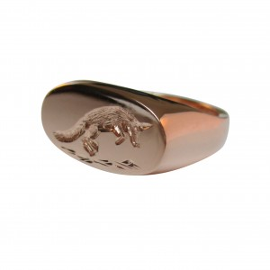 Jumping fox signet ring rose