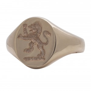 Seal engrave 'lion' 9ct white gold