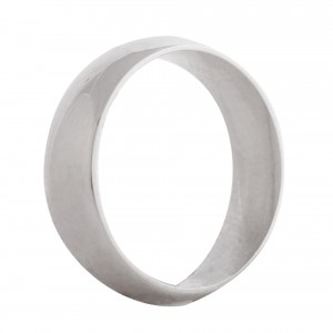Court wedding band 6mm 9ct white gold