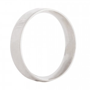 Flat wedding band 4mm 9ct white gold