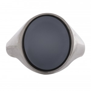 Sardonyx stone silver signet ring