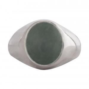 Green agate stone signet ring